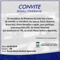 Câmara realizará sessão itinerante na região do Tuiuiú