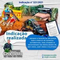 Crocodilo solicita criação de espaço para prática de esportes automotivos